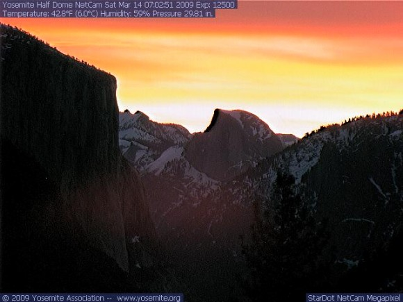 From the Yosemite park webcam