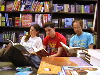 "The Goza family reading in their ""living room"""