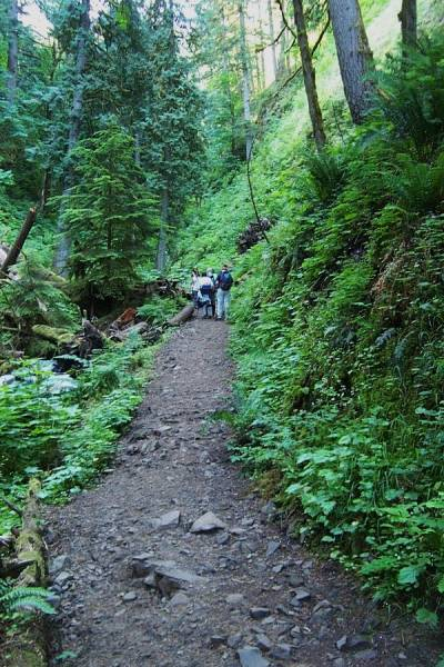 The trail becomes unpaved and tricky