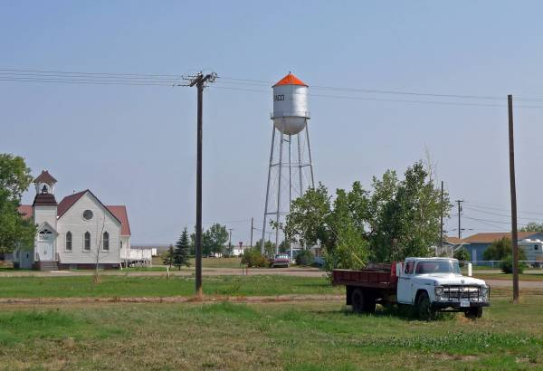 Church, water tower and truck