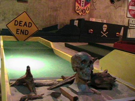 Minature Golf in funeral parlor