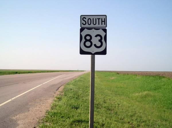 Southbound US Highway 83 in Kansas