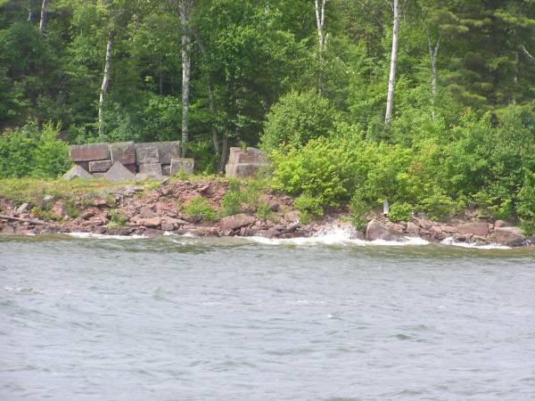 Blocks of Brownstone on Basswood Island