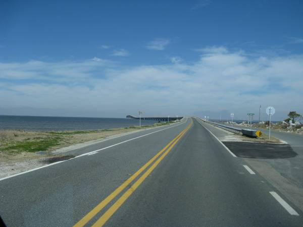 A long bridge takes the traveler to and from St. George Island