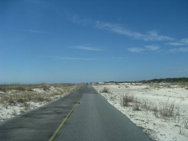 White sand from beach skirts St. George Island road.