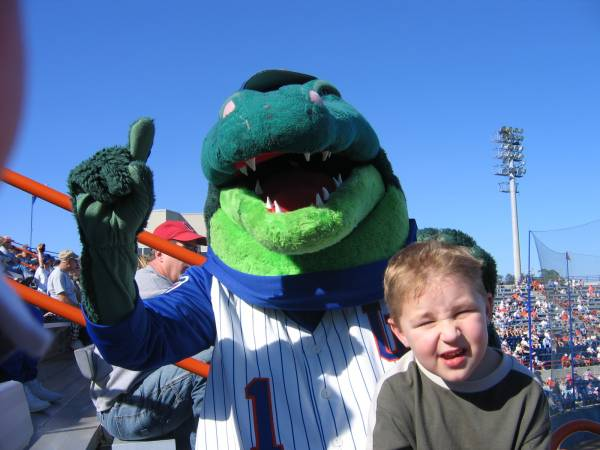 The University of Florida gator mascot entertains young and old alike.
