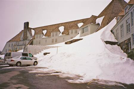 Timberline Lodge in the snow