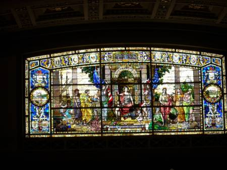 Stained glass above the House of Representatives Room