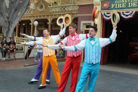 Dapper Dans in front of Main Street Fire Station (Disneyland)
