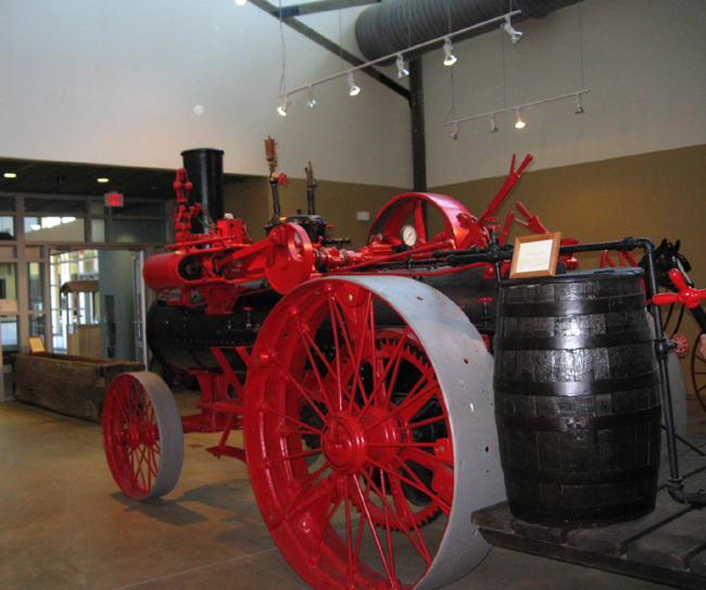 Early farming equipment, steam engine tractor