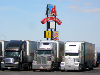 Big rigs at a TA truck stop